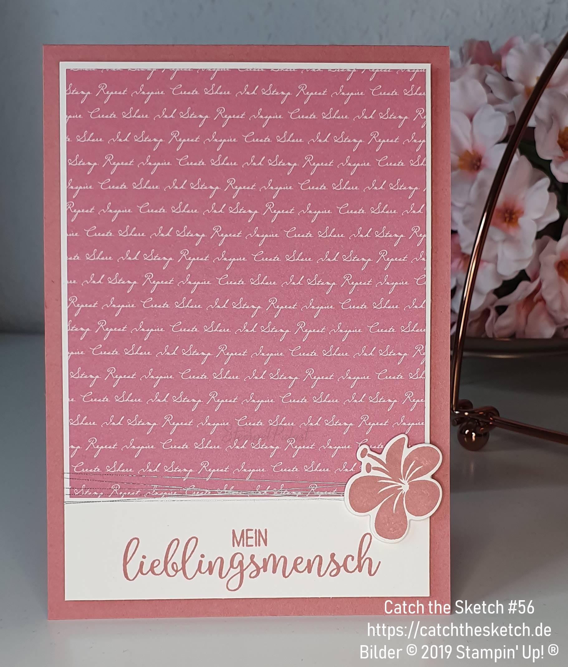 """Karte in Rokoko Rosa mit dem Stempel """"mein Lieblingsmensch"""" für Catch the Sketch #56 - neuen InColor Farben von Stampin' Up!"""