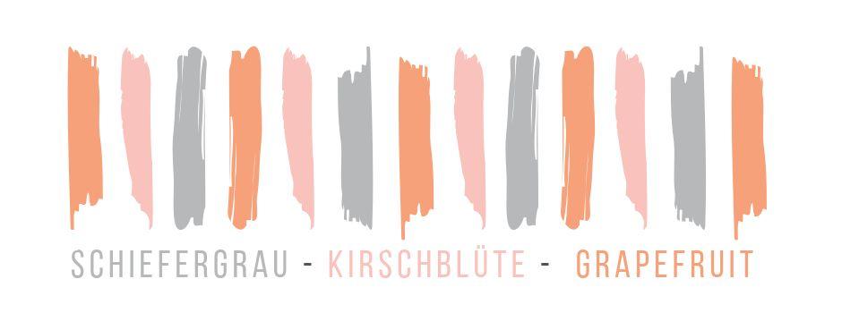 Farbkombi Schiefergrau, Kirschblüte und Grapefruit