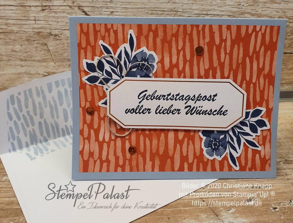 """Paper Witches im Januar Detailbild Karte mit dem Spruch""""Geburtstagspost voller lieber Wünsche"""""""