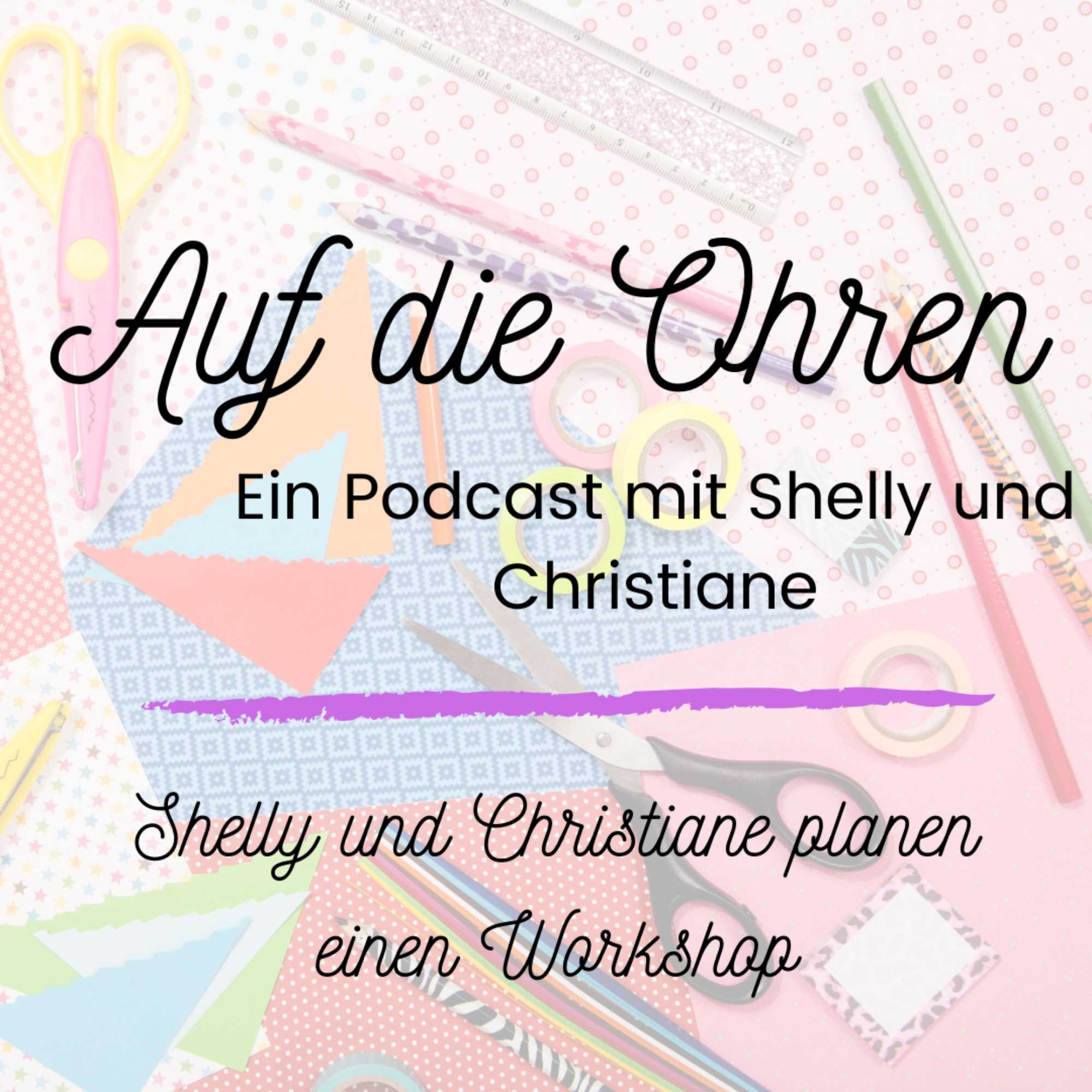 Werbegrafik Auf die Ohren - ein Podcast - Shelly und Christiane planen einen Workshop